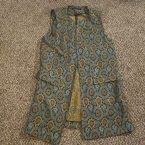 NWOT Zara Long Waistcoat Drape Pattern